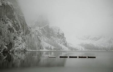 ITALY LAGO DI BRAIES WHITE ON BLACK STUDIO DESTINATION PHOTOGRAPHER